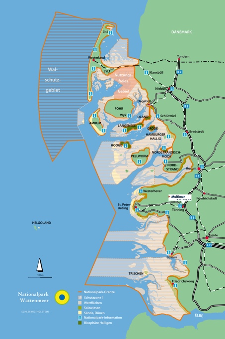 Karte Nationalpark Schleswig-holsteinisches Wattenmeer - Grafik: Nationalparkverwaltung